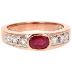 1.37 Carat Ruby Diamond 18 Karat Rose Gold Band
