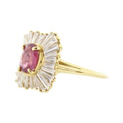 1.37 Carat Ruby Oval & Diamond Ring in 18k Yellow Gold