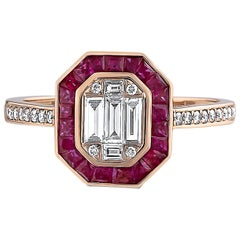 1.37 Carat Ruby Ring Set with Round and Baguette Diamonds 18 Karat Gold Ring