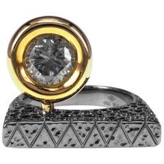 1.37 Carat Salt and Pepper Diamond Set in 19.08 Grams 18 Karat Designer Ring