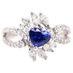 1.37 Carat Sapphire and Diamond Engagement Ring Set in Platinum