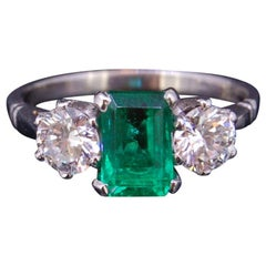 1.37 Carat Colombian Emerald and Diamond Three-Stone Ring Certificated