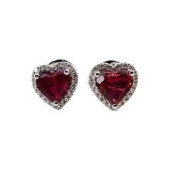 1.37 Carat Heart Shaped Pink Tourmaline and Diamond Halo Earrings, Studs