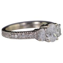 1.37 Carat Oval Diamond 3-Stone White Gold Engagement Ring