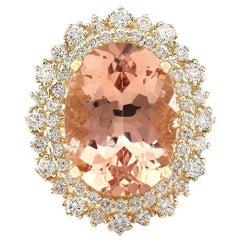13.70 Carat Morganite 18 Karat Yellow Gold Diamond Ring