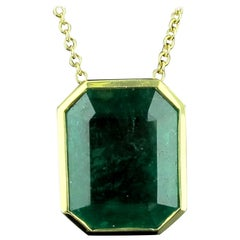 13.71 Carat Emerald Pendant in 18 Karat Yellow Gold