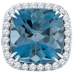 13.72ct Cushion Santa Maria Aquamarine in Diamond Halo Split Shank GIA Certified