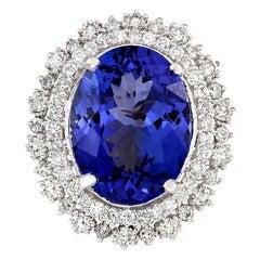 13.75 Carat Tanzanite 18 Karat White Gold Diamond Ring