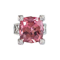 13.76 Carat Pink Tourmaline and Diamond Chevron Cocktail Ring in 18K White Gold