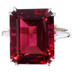 13.77 Carat Natural Emerald Cut Rubellite Platinum Diamond Ring