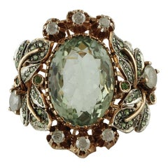 13.77 ct Green Amethyst Tsavorites White Diamonds Rose Gold Silver Cocktail Ring