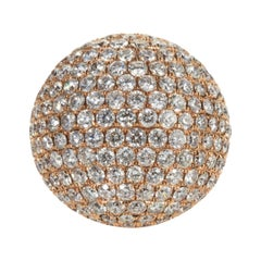 13.79 Carat Round Cut Diamond Bombe Ring in 18 Karat Rose Gold