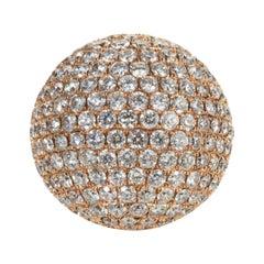13.79 Carat Round Cut Diamond Bombe Ring in 18 Karat Rose Gold