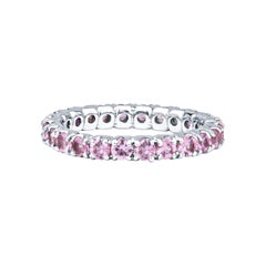 1.37ctw Round Pink Sapphire, 14kt White Gold Eternity Stacking Band