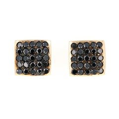 1.38 Carat Black Diamond Stud Earrings 14 Karat Yellow Gold