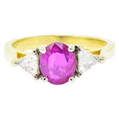 1.38 Carat Burma Ruby Diamond and 18 Karat Gold Ring, circa 1980 AGL