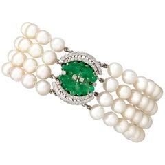 1.38 Carat Diamond and Jadeite Pearl and White Gold Bracelet