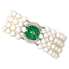 1.38 Carat Diamond and Jadeite Pearl and White Gold Bracelet
