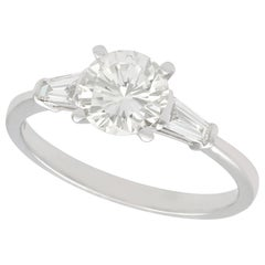 1.38 Carat Diamond and White Gold Solitaire Ring, Art Deco Style, circa 2000
