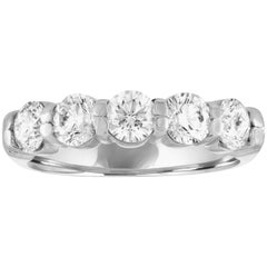 1.38 Carat Diamond Five-Stone Platinum Half Band Ring