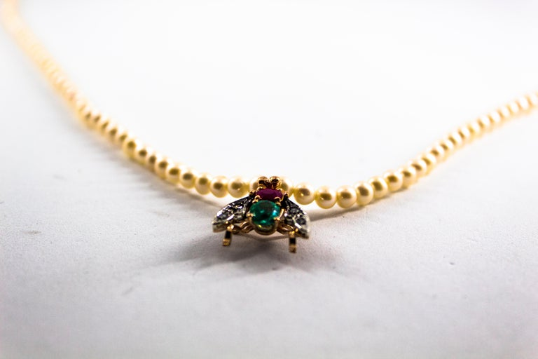 1.38 Carat Diamond Ruby Emerald Pearl Yellow Gold