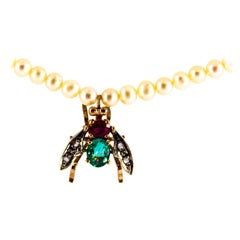 "1.38 Carat Diamond Ruby Emerald Pearl Yellow Gold ""Fly"" Pendant Beaded Necklace"