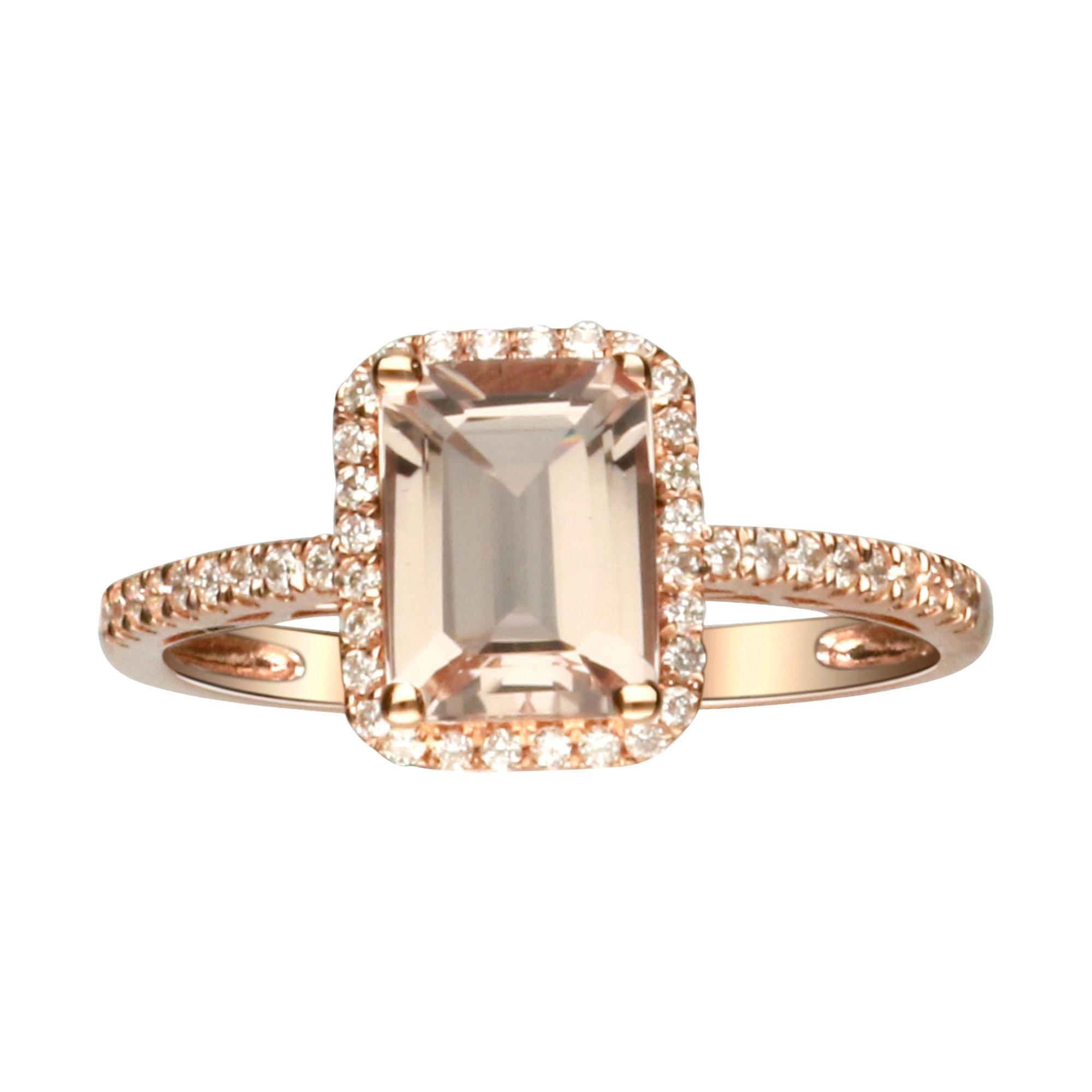 1.38 Carat Morganite and Diamond 14 Karat Rose Gold Ring