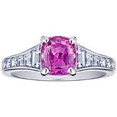 1.38 Carat Pink Cushion Sapphire and Diamond Ring