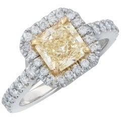 1.38 Carat Radiant Cut Yellow Diamond in Platinum Engagement Ring