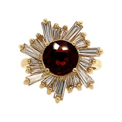 1.38 Carat Red Spinel and Diamond Sun Ring