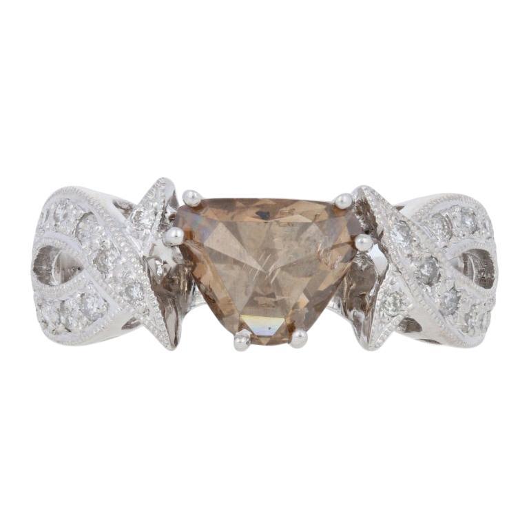 1.38 Carat Rose Cut Trillion Diamond Ring, 18k White Gold Fancy Brown Milgrain