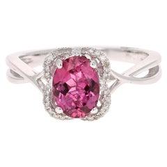 1.38 Carat Tourmaline Diamond 14 Karat White Gold Ring