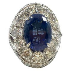 13.80 Carat Natural Unheated Ceylon Sapphire Diamond Ring