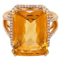 13.83 Carat Citrine and Diamond 18 Carat Rose Gold Cocktail Ring