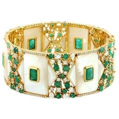 13.83 Carat Emerald Mother of Pearl Diamond Bangle Bracelet