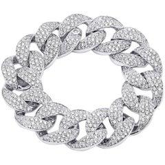 13.85 Carat 18 Karat White Gold Diamond Link Bracelet