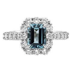 1.39 Carat Aquamarine and Diamond Halo Engagement Ring in Platinum
