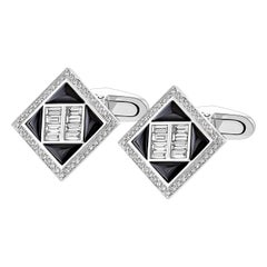 1.39 Carat Black Onyx and 1.14 Carat Diamond Baguette Cufflinks