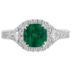 1.39 Carat Cushion Cut Columbian Emerald Diamond Cocktail Ring