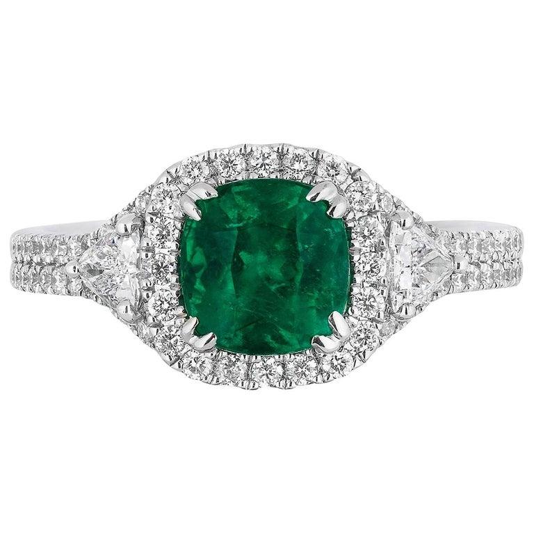 1.39 Carat Cushion Cut Columbian Emerald Diamond Cocktail Ring For Sale