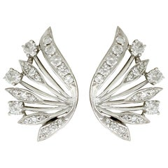 1.39 Carat Diamond and White Gold Clip-On Earrings