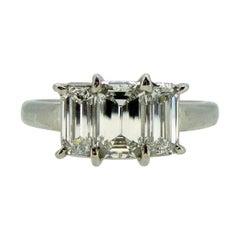 1.39 Carat Emerald Cut Diamond Engagement Ring, Trilogy/Three-Stone, Platinum