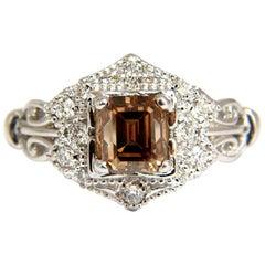 1.39 Carat Natural Fancy Brown Emerald Cut Diamond Ring VS2 Victorian Deco