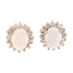 1.39 Carat Opal Diamond 14 Karat Yellow Gold Earrings