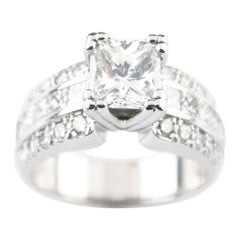 1.39 Carat Princess Cut Diamond 14 Karat White Gold Ring with AIG-Certified