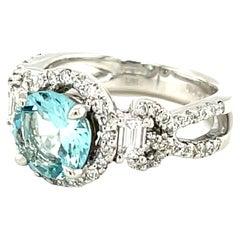 1.39 Carat Round Aquamarine Diamond Halo White Gold Cocktail Ring