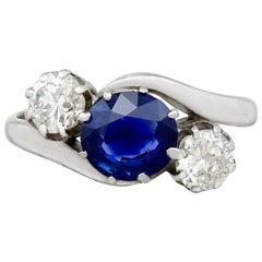 1.39 Carat Sapphire and 0.80 Carat Diamond White Gold Twist Ring