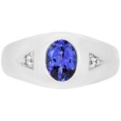 1.39 Carat Tanzanite and 0.03 Carat Diamond Men's Ring