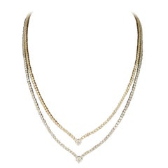 13.90 Carat V-Shaped Double Row Tennis Necklace 14 Karat Two-Tone Color