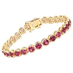 13.92 Carat Genuine Rubellite 14 Karat Yellow Gold Bracelet